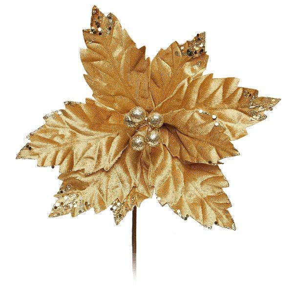 Flor de Natal Cabo Curto Poinsettia Ouro  - 01 unidade - Cromus Natal - Rizzo Embalagens