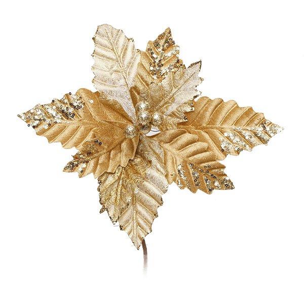 Flor de Natal Poinsettia Cabo Curto  Ouro  - 01 unidade - Cromus Natal - Rizzo Embalagens