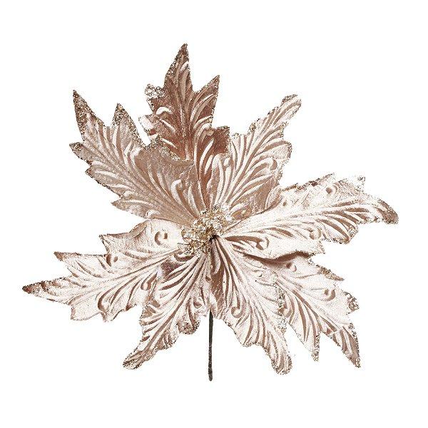 Flor de Natal Poinsettia Nude Cabo Curto - 01 unidade - Cromus Natal - Rizzo Embalagens