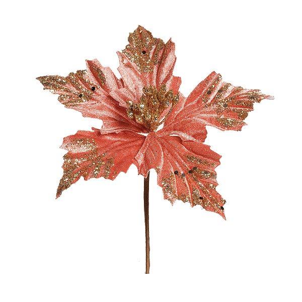 Flor de Natal Poinsettia Rosa Cabo curto - 01 unidade - Cromus Natal - Rizzo Embalagens