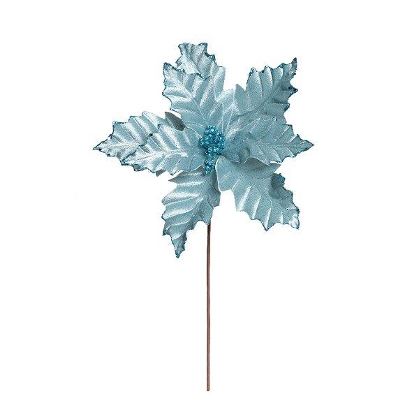 Flor de Natal Poinsettia Azul Cabo Médio - 01 unidade - Cromus Natal - Rizzo Embalagens