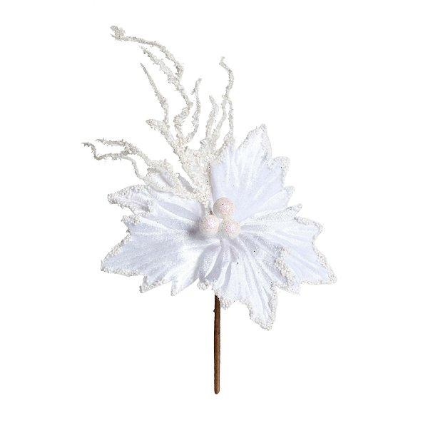 Flor de Natal Poinsettia Branco Cabo Curto - 01 unidade - Cromus Natal - Rizzo Embalagens