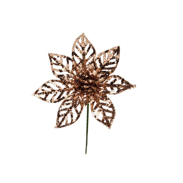 Flor de Natal Poinsettia Glitter Rose Gold Cabo Curto - 01 unidade - Cromus Natal - Rizzo Embalagens