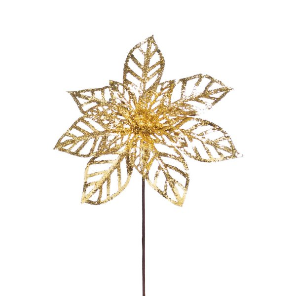 Flor de Natal Poinsettia 14 Petalas Vazadas Ouro Cabo Curto - 01 unidade - Cromus Natal - Rizzo Embalagens