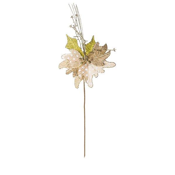 Flor de Natal Poinsettia Ouro Cabo Longo - 01 unidade - Cromus Natal - Rizzo Embalagens