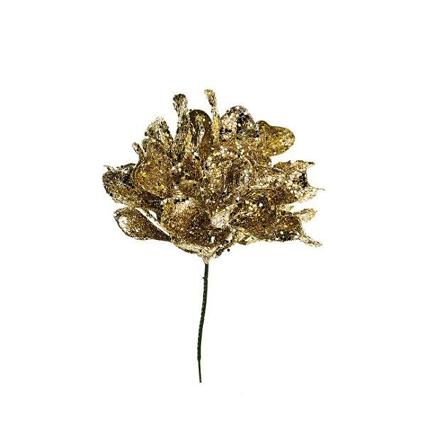 Pick Flor de Natal Ouro - 01 unidade - Cromus Natal - Rizzo Embalagens