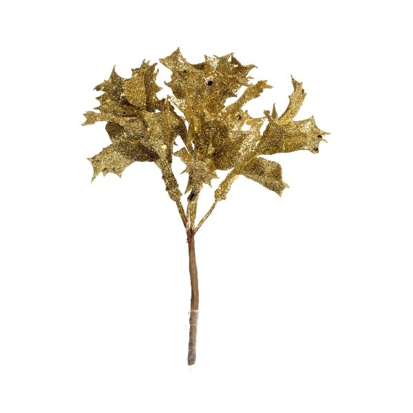 Pick Folhas Natal Ouro - 01 unidade - Cromus Natal - Rizzo Embalagens