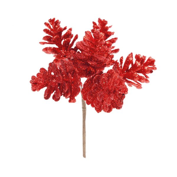 Pick Pinhas Glitter Vermelho Natal - 01 unidade - Cromus Natal - Rizzo Embalagens