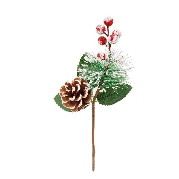 Pick Natal Folhas Pinhas e Frutas Vermelho/Verde - 01 unidade - Cromus Natal - Rizzo Embalagens