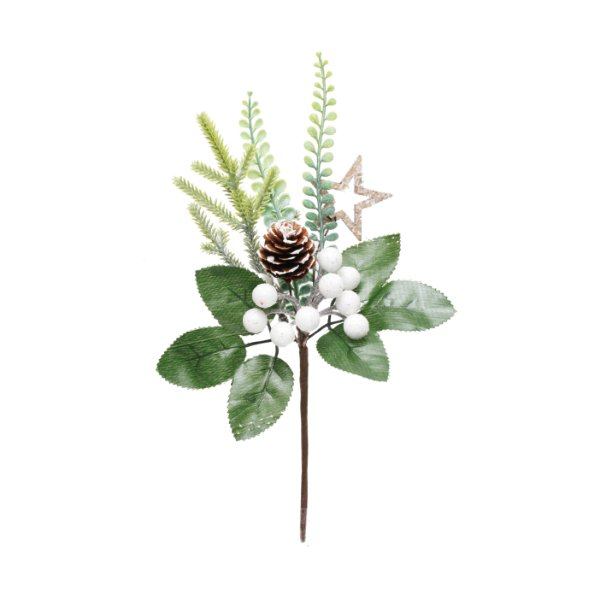 Pick Natal Folhas Frutas e Pinha Branco/Verde - 01 unidade - Cromus Natal - Rizzo Embalagens