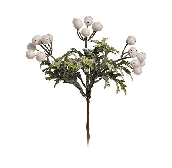 Pick Natal Galho com Cereja Branco/Verde - 01 unidade - Cromus Natal - Rizzo Embalagens