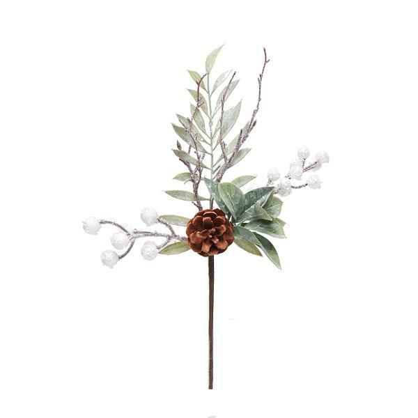 Pick Natal Galho Curto Frutas e Folhas Branco/Verde - 01 unidade - Cromus Natal - Rizzo Embalagens