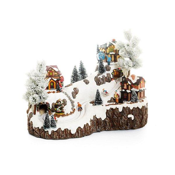 Cenário com Movimento Natal Teleferico Bivolt Som Luz e Movimento - 01 unidade - Cromus Natal - Rizzo Embalagens