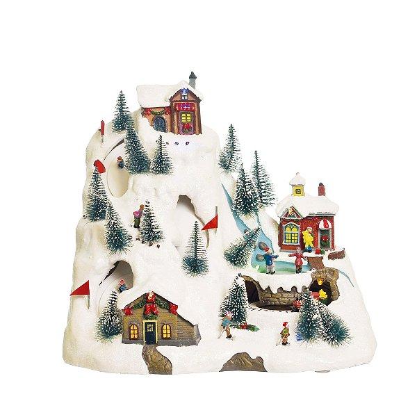 Cenário com Movimento Natal Estação Esqui Bivolt Som Luz e Movimento - 01 unidade - Cromus Natal - Rizzo Embalagens