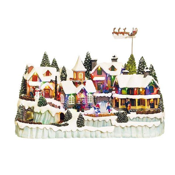 Cenário com Movimento Natal Vila com Noel Bivolt Som Luz e Movimento - 01 unidade - Cromus Natal - Rizzo Embalagens