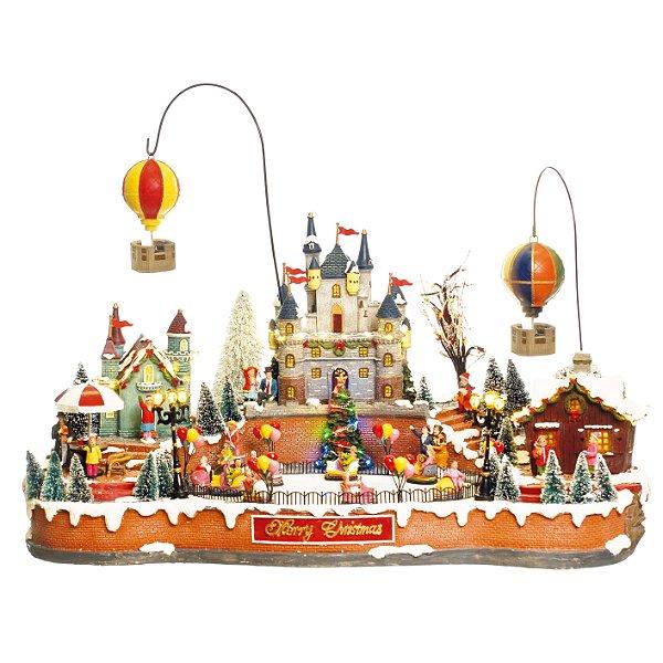 Cenário com Movimento Natal Vila com Balões Som Luz e Movimento - 01 unidade - Cromus Natal - Rizzo Embalagens