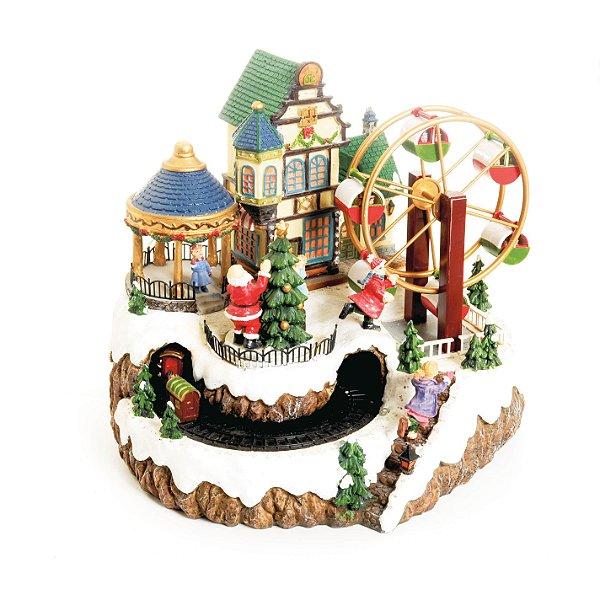 Cenário com Movimento Natal Vila Roda Gigante Som Luz e Movimento - 01 unidade - Cromus Natal - Rizzo Embalagens