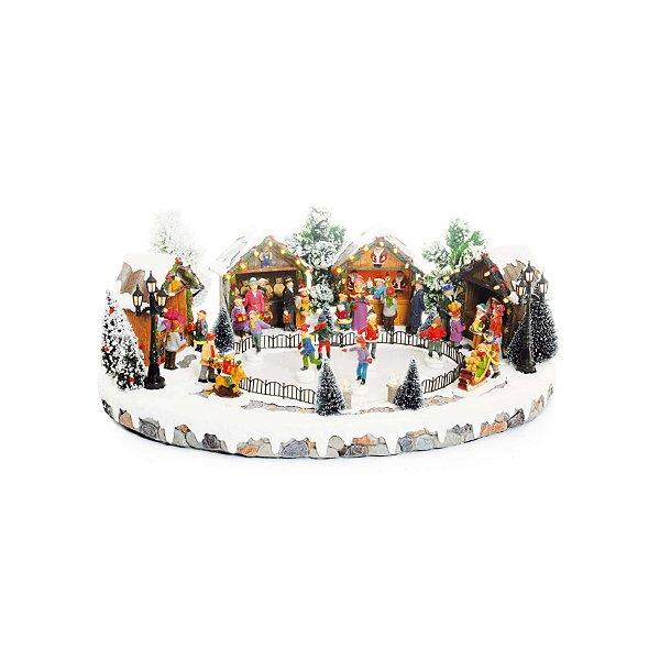 Cenário com Movimento Natal Pista de Patinação Som Luz e Movimento - 01 unidade - Cromus Natal - Rizzo Embalagens