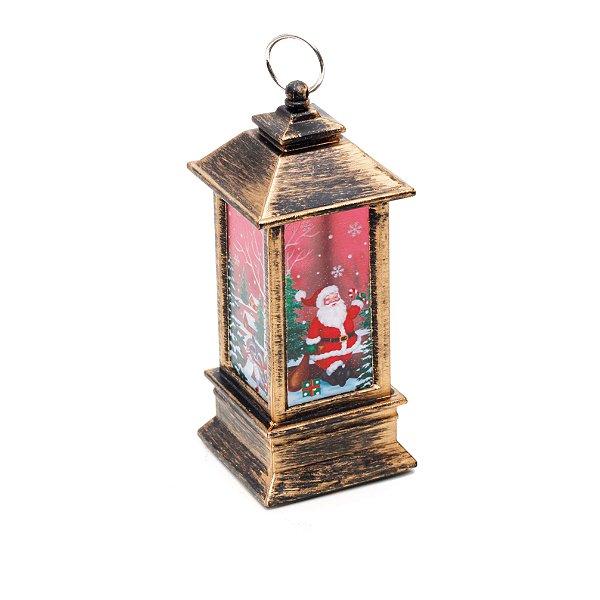 Lanterna com Papai Noel 12cm - 01 unidade - Cromus Natal - Rizzo Embalagens