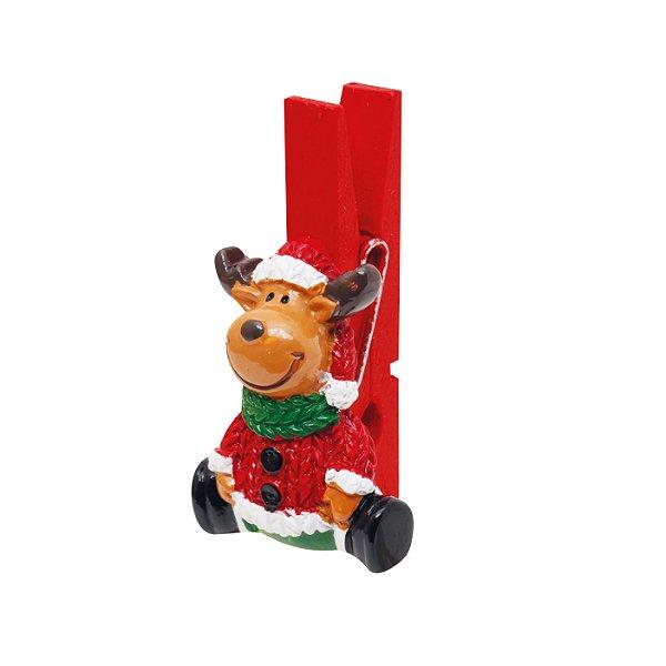 Prendedor de Natal Rena - 06 unidades - Cromus Natal - Rizzo Embalagens