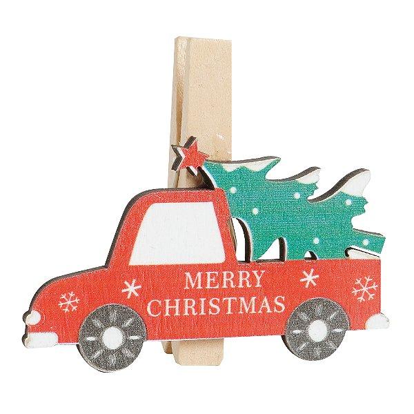 Prendedor de Natal Caminhão com Pinheiro - 06 unidades - Cromus Natal - Rizzo Embalagens