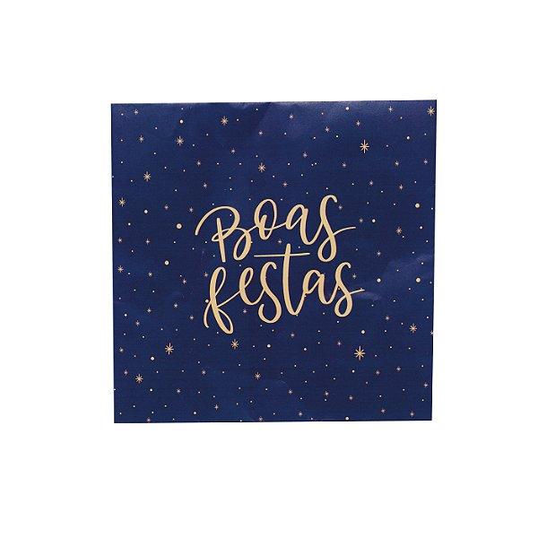 Guardanapo de Papel Natal Boas Festas Azul/Ouro 32,5cm - 20 folhas - Cromus Natal - Rizzo Embalagens