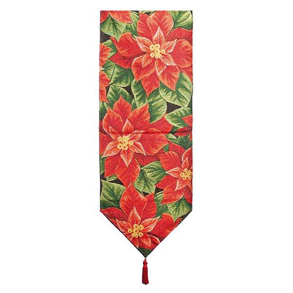 Caminho de Mesa Poinsettia 180cm - 01 unidade - Cromus Natal - Rizzo Embalagens