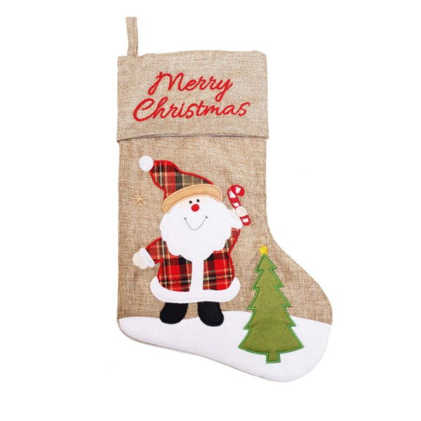 Enfeite Bota Noel Juta 40cm - 01 unidade - Cromus Natal - Rizzo Embalagens