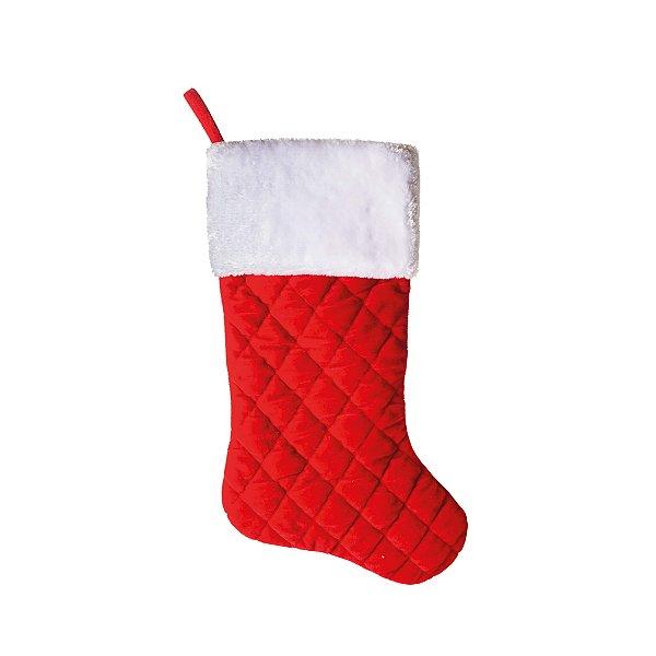 Enfeite Bota Felpuda com Quadrados Vermelho 50cm - 01 unidade - Cromus Natal - Rizzo Embalagens
