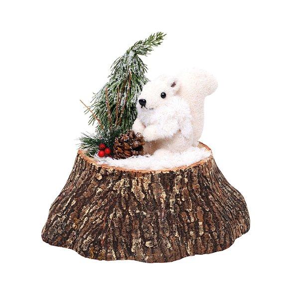 Esquilo no Tronco com Pinheiro  25cm - 01 unidade - Cromus Natal - Rizzo Embalagens