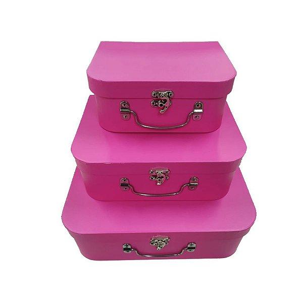 Kit Maleta Rosa Pink - 03 Unidades - Rizzo Embalagens