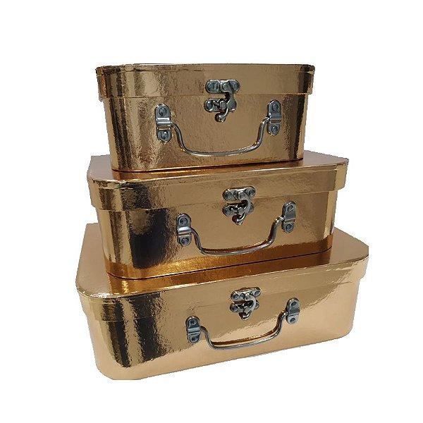 Kit Maleta Rose Gold - 03 Unidades - Rizzo Embalagens