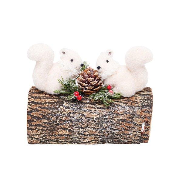 Esquilos no Tronco Pinha 23cm - 01 unidade - Cromus Natal - Rizzo Embalagens