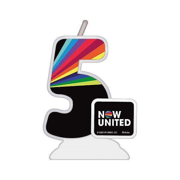 Vela Temática Festa Now United N°5 - 01 Unidade - Festcolor - Rizzo Festas
