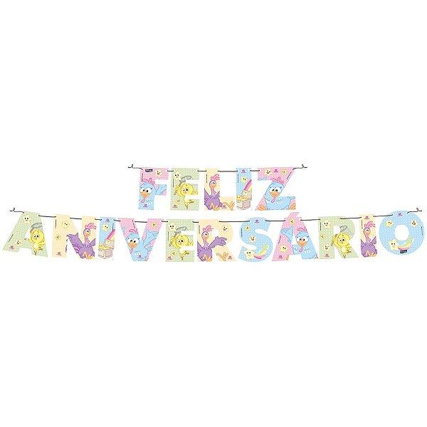 Faixa Feliz Aniversário Festa Galinha Pintadinha Candy - Festcolor - Rizzo Festas