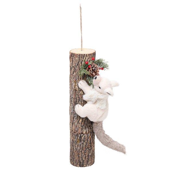 Esquilo deitado no Tronco  43cm - 01 unidade - Cromus Natal - Rizzo Embalagens