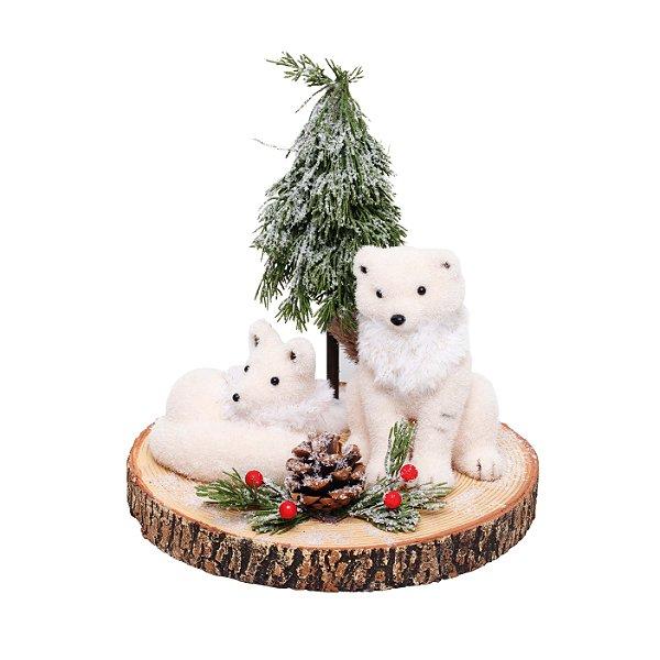Raposa Branca no Tronco com Pinheiro 27cm - 01 unidade - Cromus Natal - Rizzo Embalagens