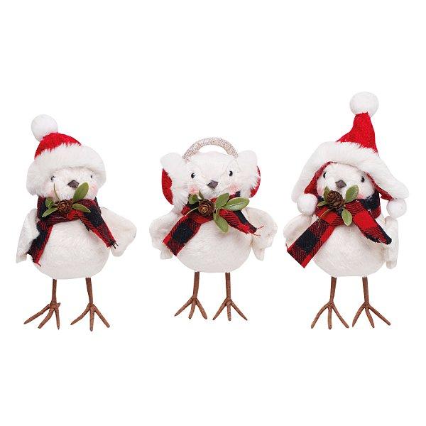 Pássaro com Gorro e Cachecol 16cm - 01 unidade - Cromus Natal - Rizzo Embalagens