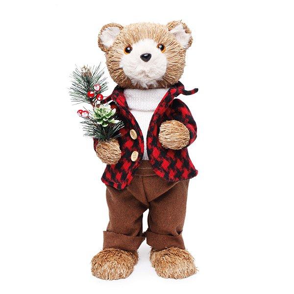 Urso em Pé Casaco Xadrez 38cm - 01 unidade - Cromus Natal - Rizzo Embalagens