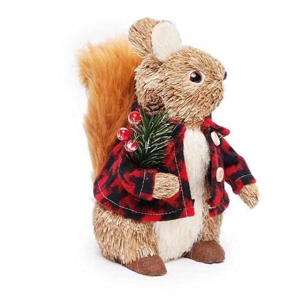Esquilo Sentado Camisa Xadrez 21cm - 01 unidade - Cromus Natal - Rizzo Embalagens