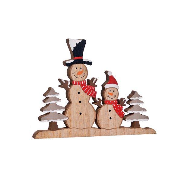 Boneco de Neve com Pinheiro em Madeira Vermelho - 01 unidade - Cromus Natal - Rizzo Embalagens