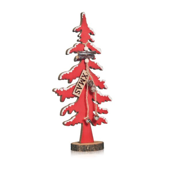 Pinheiro com Pinha em Madeira Vermelho - 01 unidade - Cromus Natal - Rizzo Embalagens