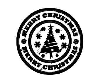 Carimbo Artesanal Merry Christmas - M - 6x6cm - Cod.RI-048 - Rizzo Embalagens