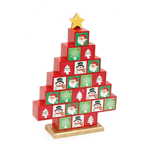Calendario Natalino Pinheiro 37cm - 01 unidade - Cromus Natal - Rizzo Embalagens