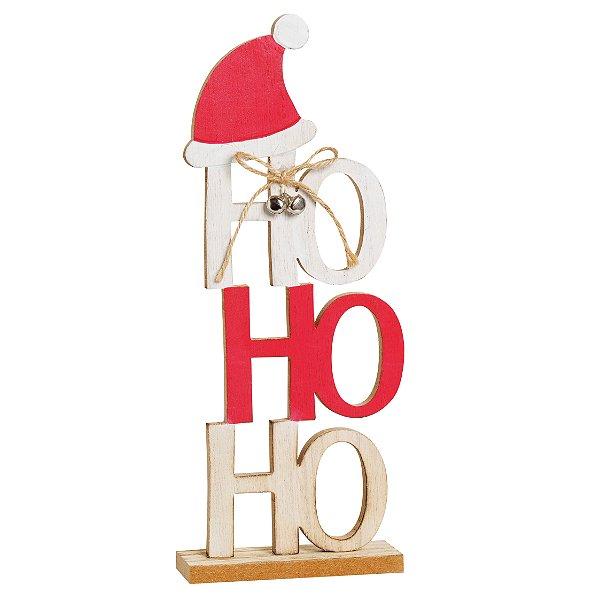 Decorativo HOHOHO com Gorro 28cm - 01 unidade - Cromus Natal - Rizzo Embalagens