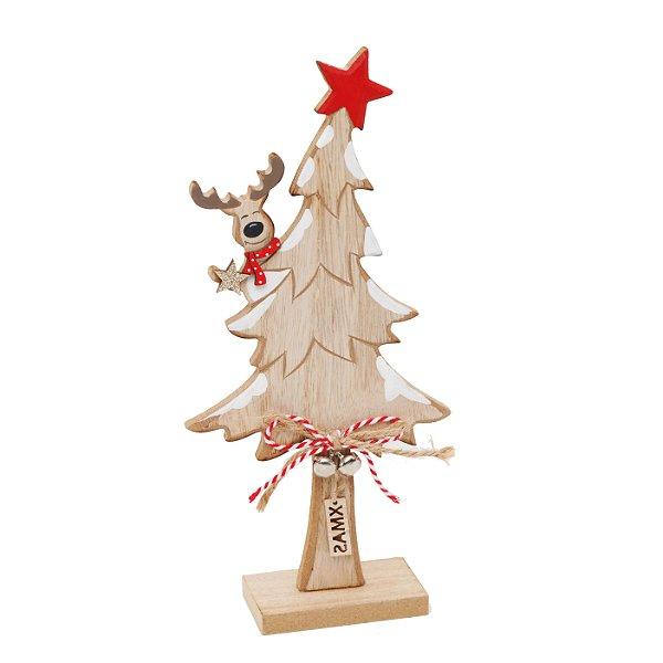 Pinheiro em Madeira com Rena Pendurada 22cm - 01 unidade - Cromus Natal - Rizzo Embalagens