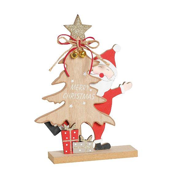 Pinheiro com Noel Escondido em Madeira 20cm - 01 unidade - Cromus Natal - Rizzo Embalagens