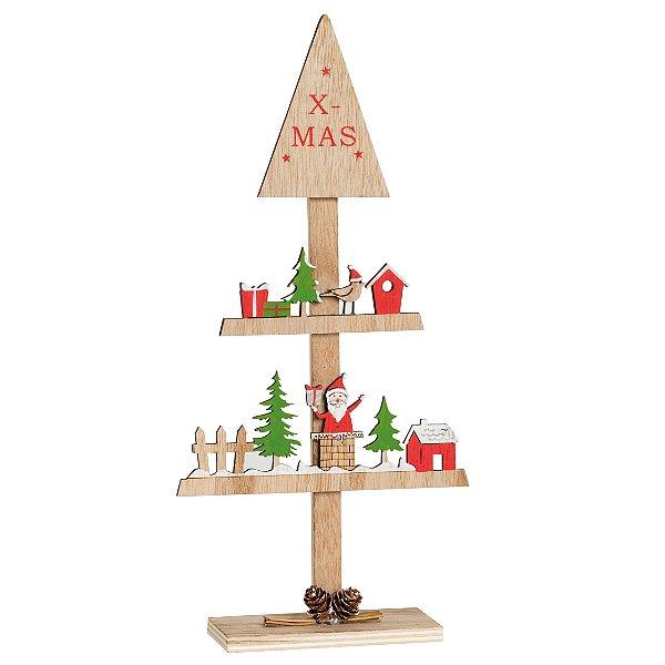 Pinheiro Desconstruído com Noel em Madeira 33cm - 01 unidade - Cromus Natal - Rizzo Embalagens