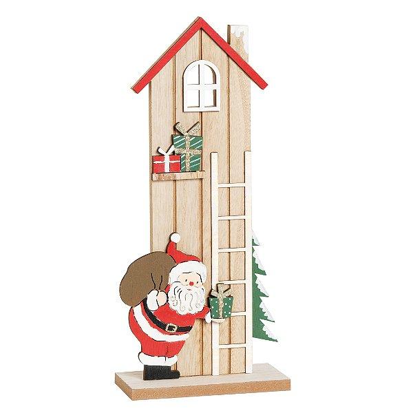 Casinha Noel na Escada Em Madeira 30cm - 01 unidade - Cromus Natal - Rizzo Embalagens