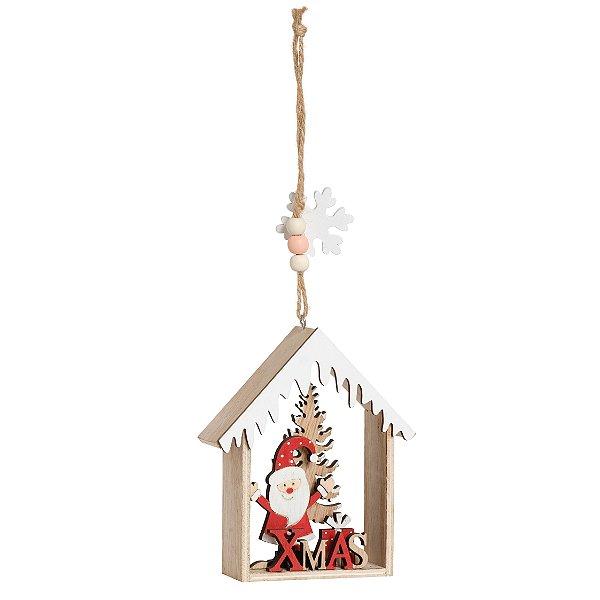 Enfeite para Pendurar Casinha com Noel em Madeira 12cm - 01 unidade - Cromus Natal - Rizzo Embalagens